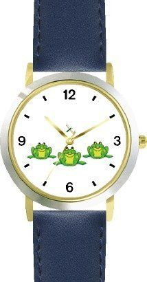Three Green Frogs & Dragon Fly Cartoon - Frog - JP Animal - WATCHBUDDY® DELUXE TWO-TONE THEME WATCH - Arabic Numbers - Blue Leather Strap-Size-Children's Size-Small ( Boy's Size & Girl's Size ) WatchBuddy. $49.95. Save 38%!