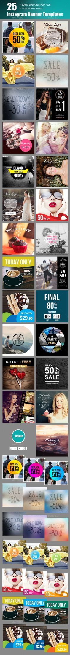 25 Instagram Banner Templates - Download Here : http://graphicriver.net/item/instagram-banner-templates/15505712?ref=yinkira