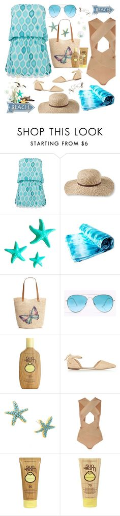 """""""Gone To The Beach"""" by rasa-j ❤ liked on Polyvore featuring ELIZABETH HURLEY beach, L.L.Bean, Dot & Bo, Style & Co., Sun Bum, J.Crew, Lilly Pulitzer and Balmain"""