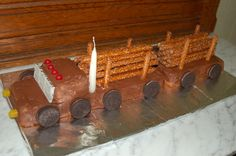 logging truck, made from pound cakes