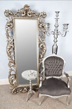 Chateau Silver Rococo Antique Style Cheval Large Rectangular Mirror - MercureThis gorgeous luxurious impressive mirror will look fantastic in your boutique hotel bridal shop, reception, hallway or sitting room.A full length large mirror for the dressing room or master bedroom.