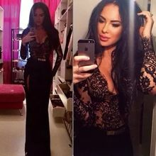 Customized Size Side Slit Black Lace Prom Dress With Long Sleeves Slim Fitted Sexy Evening Gown(China (Mainland))