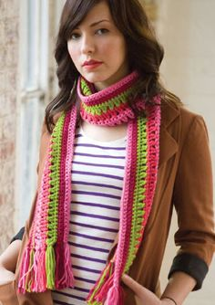 Red Heart® Taffy Pull Scarf #crochet #pattern
