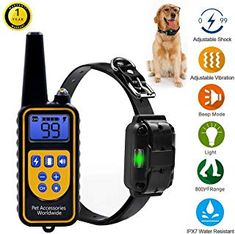 Range Remote Dog Training Collar, Rechargeable and Rainproof Dog Shock Collar with Beep, Vibration and Shock Electric Dog Collar for Puppy, Small, Medium and Large Dogs Dog Training Tools, Leash Training, Best Dog Training, Training Collar, Electronic Dog Collars, Pet Trainer, Dog Shock Collar, Aggressive Dog, Small Puppies
