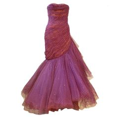 1stdibs | Wilma 1950s Couture Silk Tulle Gown w/ Sweeping Ruffle