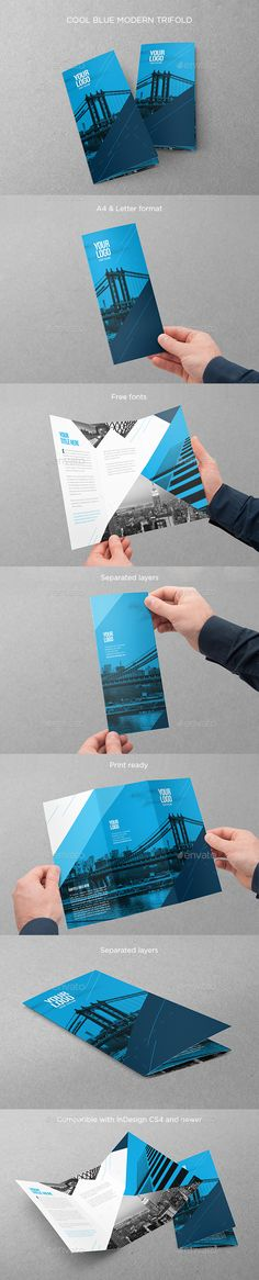 Cool Blue Modern Trifold — InDesign INDD #modern #print • Available here → https://graphicriver.net/item/cool-blue-modern-trifold/14785436?ref=pxcr