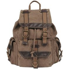 Wilsons Leather Canvas Backpack w/ Leather Trim ($69) ❤ liked on Polyvore featuring bags, backpacks, accessories, purses, brown backpack, leather trim backpack, day pack backpack, canvas rucksack and canvas knapsack