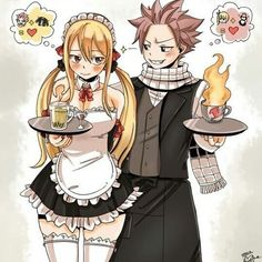 Fairy Tail - Natsu and Lucy Coffee Shop AU