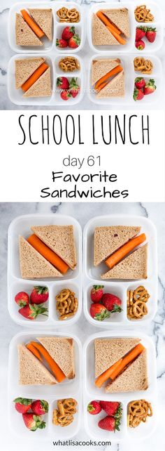 School Lunch Day 61 - simple sandwiches from WhatLisaCooks.com packed in #easylunchboxes containers
