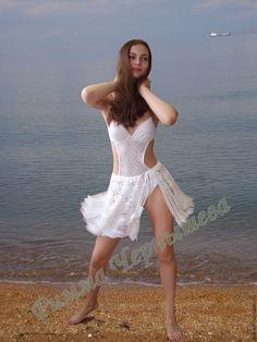 """Купить Юбка пляжная """"Летящая по волнам"""" - белый, пляжная мода, туника для пляжа, пляжная одежда"""