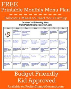 Delicious meals to feed your family in the Printable October Monthly Meal Plan! Budget friendly menu plan - Kid approved! Print out your FREE copy today!