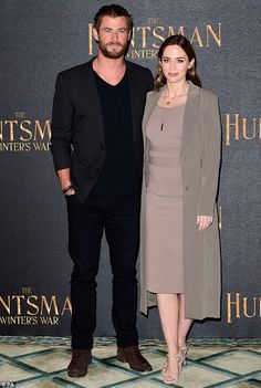 Demure beauty: Posing for photos alongside Chris - who plays the titular Huntsman in the f...