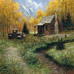 Love this painting! Log Cabin Autumn Trees Mountain Painting 11 by PaintingsOfPeace, Landscape Art, Landscape Paintings, Cabin In The Woods, Cabins In The Mountains, Old Cabins, Thomas Kinkade, Country Scenes, Mountain Paintings, Country Art