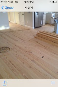 This is the unfinished floor, #2 or better southern yellow pine 1 x 6. The next picture will show the same floor with just 3 coats of polyurethane. Gorgeous Natural Pine Look