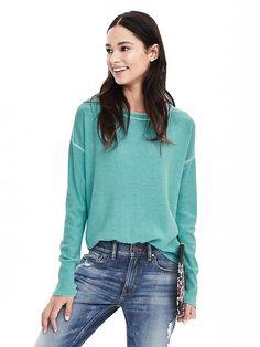 Tipped Italian Cashmere-Blend Sweater | Banana Republic