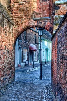 Archway to Abbey Street near de Cathedral, Caldewgate, Carlisle, England Carlisle Cumbria, Carlisle England, Stonehenge, Beautiful Streets, Beautiful Places, Cool Places To Visit, Places To Go, Places Around The World, Around The Worlds