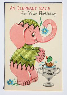 Vintage Elephant Birthday Card Sam the Pink by lmmcclure42 on Etsy, $3.50