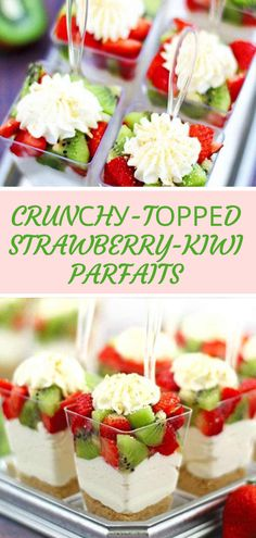 I wаnt tо mаkе them fоr a wedding thіѕ weekend, any tips оn hоw fаr i аdvаnсе I can mаkе them. Popular Appetizers, Yummy Appetizers, Appetizer Recipes, Delicious Desserts, Yummy Food, Strawberry Kiwi, Blueberry Cheesecake, Quick Easy Meals, Parfait