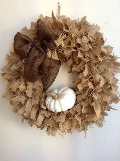 Fall Burlap Wreath LARGE 24 Wreath Ready To Ship by JBJunkMarket, $68.50