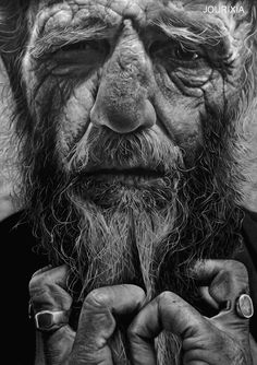 Life - Portrait of an aging man entitled Life. This portrait aims to depict the struggles and challenges which life leaves us through time. The portrait shows what has become of a man who has spent his lifetime and has experienced a lot along the way.