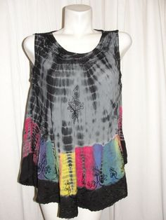 Indian Tropical Fashion Womens Top Multicolored Tie Dye Embroidered BOHO Tunic #IndianTropicalFashion #Tunic #Casual