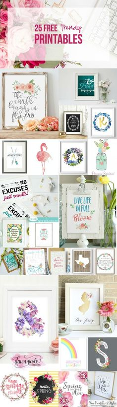 25 FREE Trendy Printables for your home... perfect for spring!