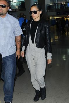 "The Dos & Don'ts Of Travel Style #refinery  29Do feel free to go bold with your ""athleisure."" Those fashion-forward pieces in jersey, stretch Lycra, and sweatshirt material you might skip over because they don't seem very exercise-friendly (fleece overalls, anyone?) will work really well for the plane. Nicole Richie at LAX in Los Angeles."