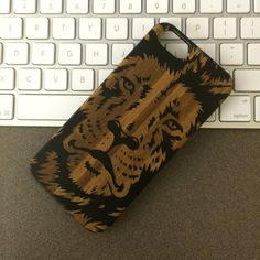 Black Painted Wood Lion Face King of Jungle Big Cat by wdpkr