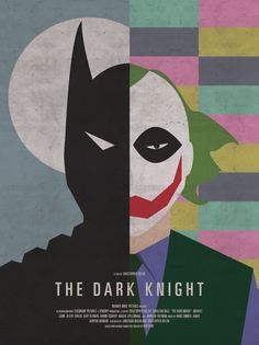 "Retro version of the recent(ish) batman film ""The Dark Knight"". Shows the two very different sides to the two main characters, while also including a subtle nod to another character from the film ""Two Face"" Best Movie Posters, Minimal Movie Posters, Movie Poster Art, Print Poster, Fan Poster, Poster Wall, Posters Geek, Cinema Posters, Concert Posters"