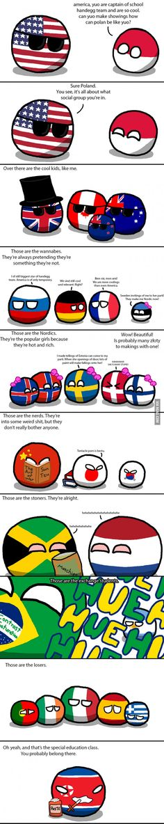 "Poor polandball ;( <---Italy looks like he is about to make the loser group take a stand. Those eyes just say, ""I hate you all."" <<< I am from the Netherlands XD :')"