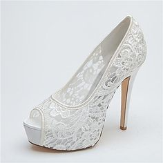 Women's Shoes Platform Peep Toe Stiletto Heel Lace Pumps Wedding Shoes More Colors available - USD $ 44.99