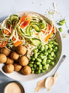 Recipe: Quinoa Bowl with Pickled Vegetables, Edamame and Tofu Balls - Recipes - CBC Life Veggie Recipes, New Recipes, Vegetarian Recipes, Healthy Recipes, Recipies, Favorite Recipes, Edamame, Quinoa Bowl, Couscous Quinoa