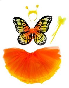 Yellow and Orange Monarch Butterfly Set Comes with Two Tutus, Wand and Tiara for Girls by Lil Princess, http://www.amazon.com/gp/product/B00AHHFF5G/ref=cm_sw_r_pi_alp_2BiXqb0FN38N3