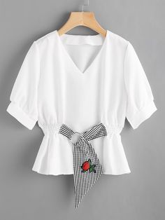 Shop Contrast Gingham O-Ring Detail Embroidered Applique Blouse online. SheIn offers Contrast Gingham O-Ring Detail Embroidered Applique Blouse & more to fit your fashionable needs. Mode Outfits, Casual Outfits, Fashion Outfits, Blouse Styles, Blouse Designs, Fancy Tops, Vetement Fashion, Casual Tops, Pretty Outfits