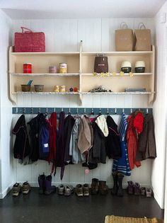 Think jason could build this for me :) Mud Room Garage, House Entrance, Organization, Organizing, Getting Organized, Mudroom, Home Projects, Wardrobe Rack, Laundry Room
