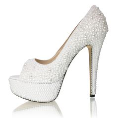 "6"" Off white mixed size pearl Peep toe pumps"