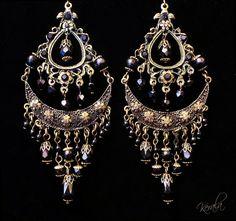 black gold chandelier earrings | Black Glass Chandelier Earrings- Exotic Bronze Bohemian Chandelier ...