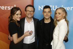 """Mr. Robot, USA. Carly Chaikin (Darlene); Christian Slater (Mr. Robot); Rami Malek (Elliot Alderson); and Portia Doubleday (Angela Moss). """"Elliot Alderson, a young cyber-security engineer living in New York who assumes the role of a vigilante hacker by night. Elliot meets a mysterious anarchist known as """"Mr. Robot"""" who recruits Elliot to join his team of hackers, """"fsociety."""""""""""