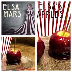 American Horror Story: Freak Show Menu! Elsa's Apples: Glamourous Red Wine Candy Apples!! Go to apinchadash.com for the full recipe!!