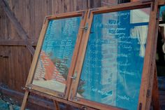 Our late summer wedding - sitting chart on a window