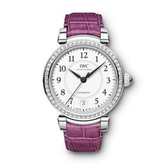 Automatic 36mm stainless steel and diamond watch and pink raspberry-coloured alligator leather strap by Santoni. The return of an iconic watch for women in fashion and luxury: the IWC Da Vinci was re-launched at SIHH: http://www.thejewelleryeditor.com/watches/article/welcome-return-of-iwc-da-vinci-watches-for-women/ #watches