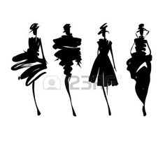 Fashion Design Drawing Fashion models hand drawn silhouettes Stock Vector - 38973881 - - Millions of Creative Stock Photos, Vectors, Videos and Music Files For Your Inspiration and Projects. Fashion Model Sketch, Fashion Design Sketches, Fashion Models, Drawing Fashion, Fashion Painting, Fashion Fashion, Fashion Illustration Sketches, Fashion Sketchbook, Illustration Art