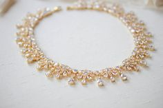 Rose gold crystal drop statement necklace - ADDISON – Treasures by Agnes