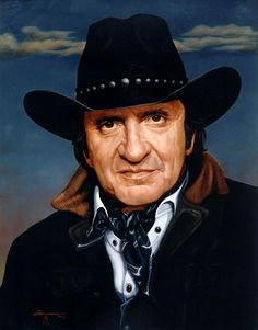 Johnny Cash - Custom Portrait Painting in Oil - Portraits Artist Rick Timmons - Dallas Texas
