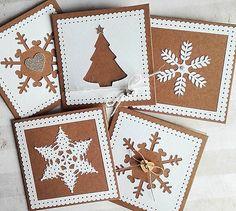 Christmas Cookie Cards Kraft Paper Christmas by dorothyrovensky Snowflake Cards, Christmas Snowflakes, Christmas Bells, Christmas Cookies, Die Cut Christmas Cards, Christmas Greeting Cards, Christmas Greetings, Homemade Christmas, Christmas Crafts