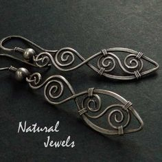 """spiral feathers"" oxidized sterling silver wirework earrings by naturaljewels on etsy"