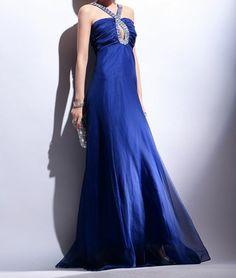 Strap Navy Classic Evening Dress