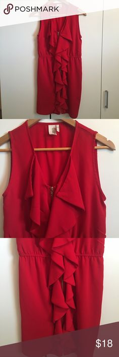 """Pretty Red Ruffled Shift Dress Pretty Red Ruffled Shift Dress. Excellent condition! Polyester. Zippers down the front of the dress. Elastic waist. Bust 34"""", waist 26""""-34"""", hips 38"""", length 33"""" Bird Cage on label Dresses Midi"""