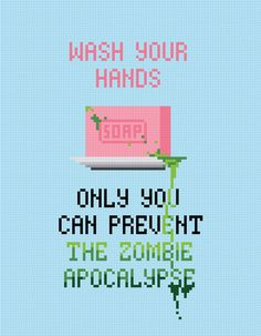 Wash Your Hands Quote - Cross Stitch PDF Pattern Download. $4.00, via Etsy.