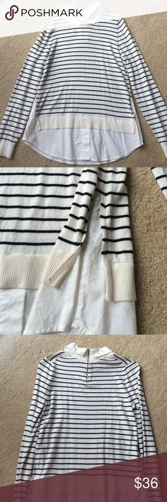 LOFT Collard Sweater LOFT mock collard sweater in black and white stripes. Top has collar and bottom resembles a white button down shirt. Zipper closure at top of back. In great condition. No defects or stains. LOFT Sweaters